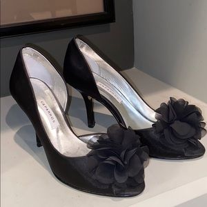 Caparros black satin peekaboo toe dress shoes